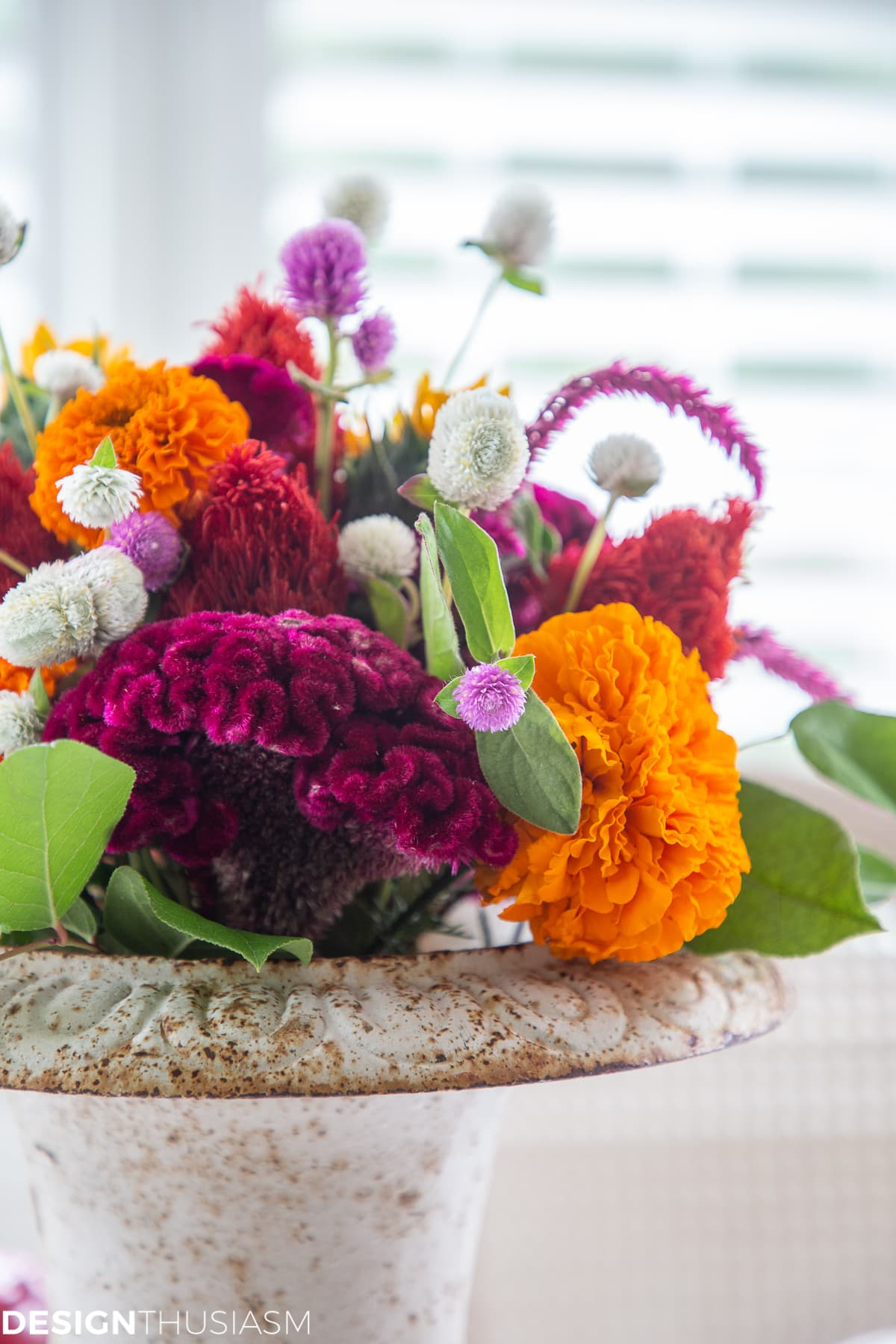 colorful fall floral centerpiece