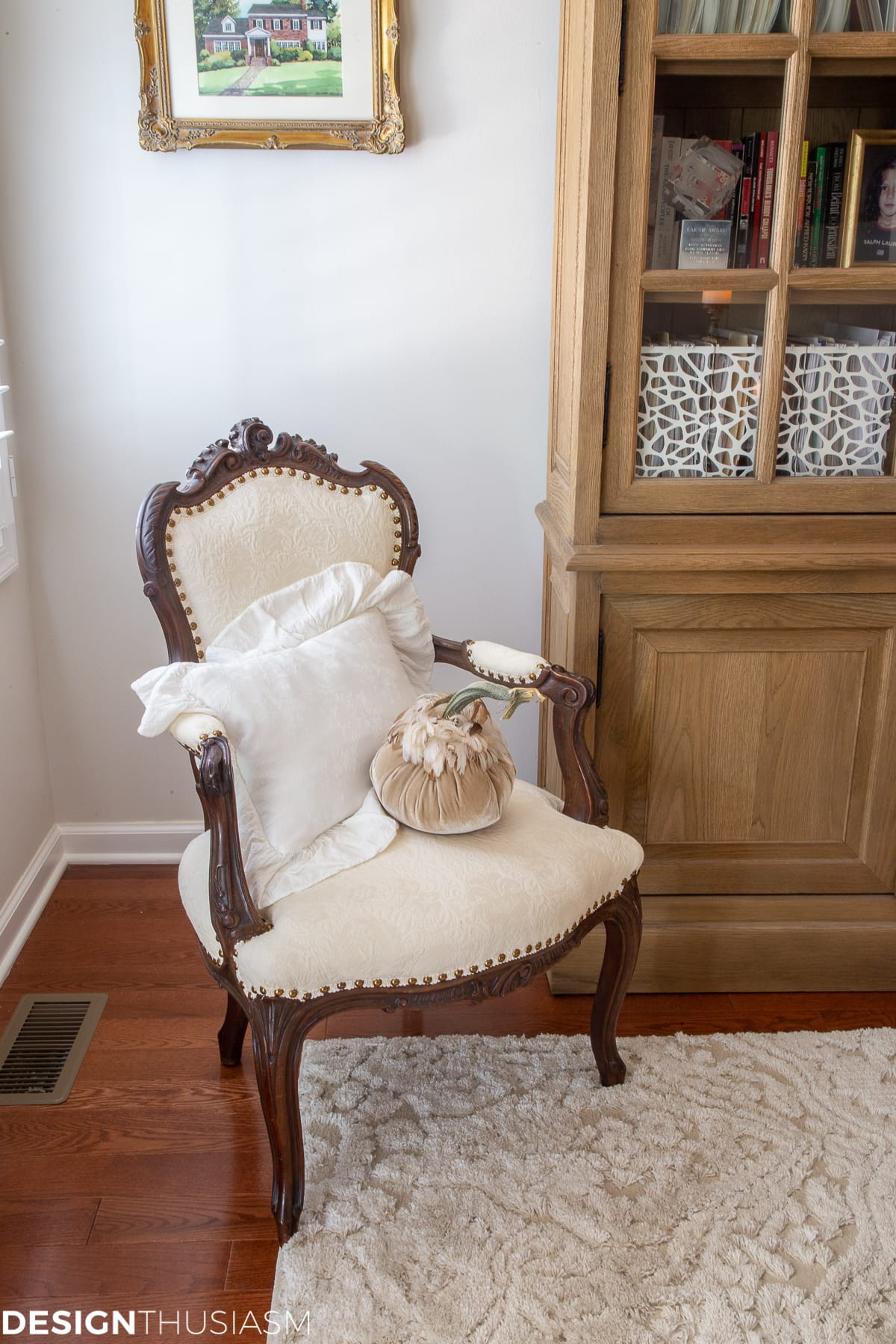 fall home office decor pumpkin on french chair