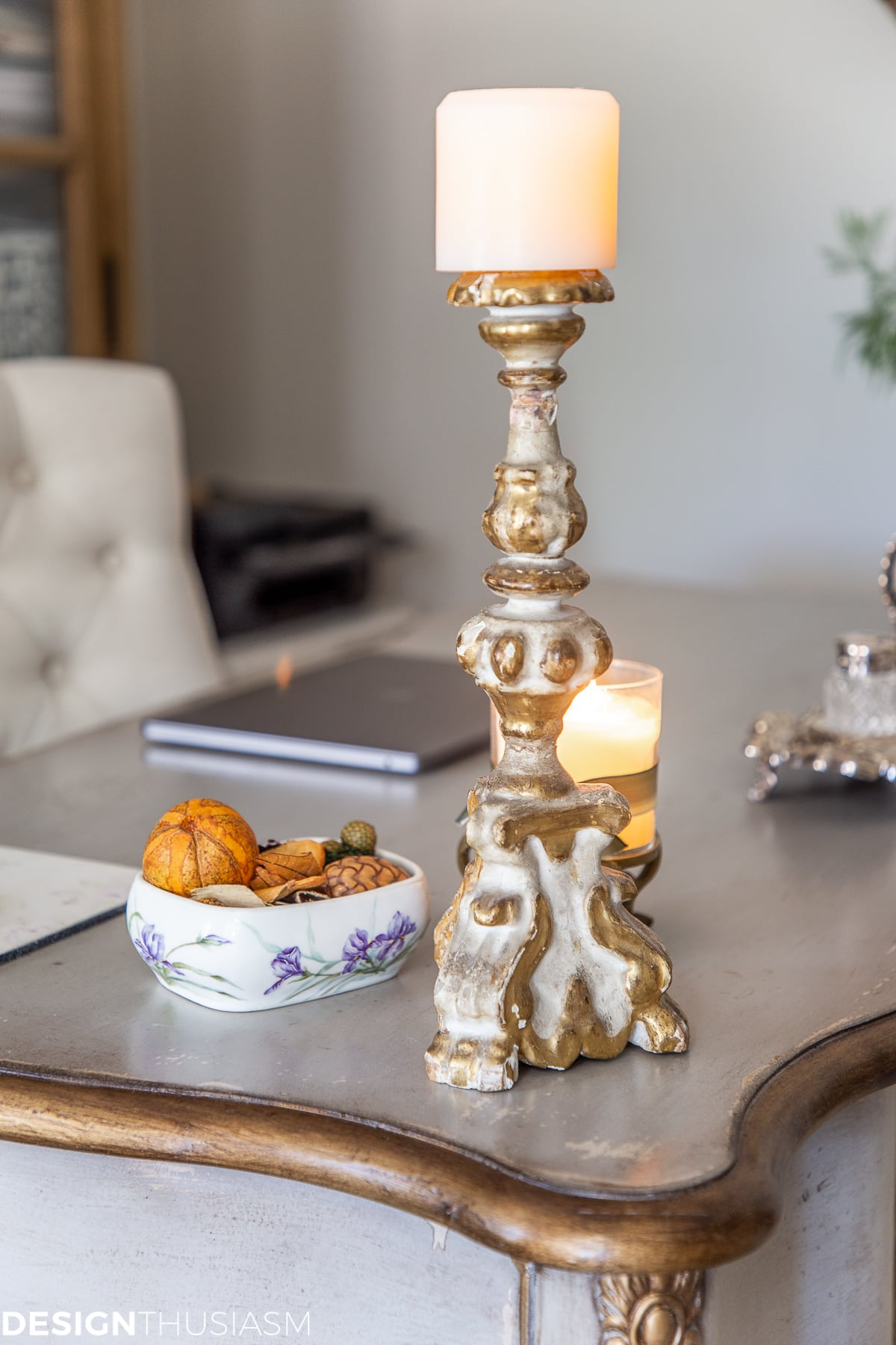fall home office decor candles on desk