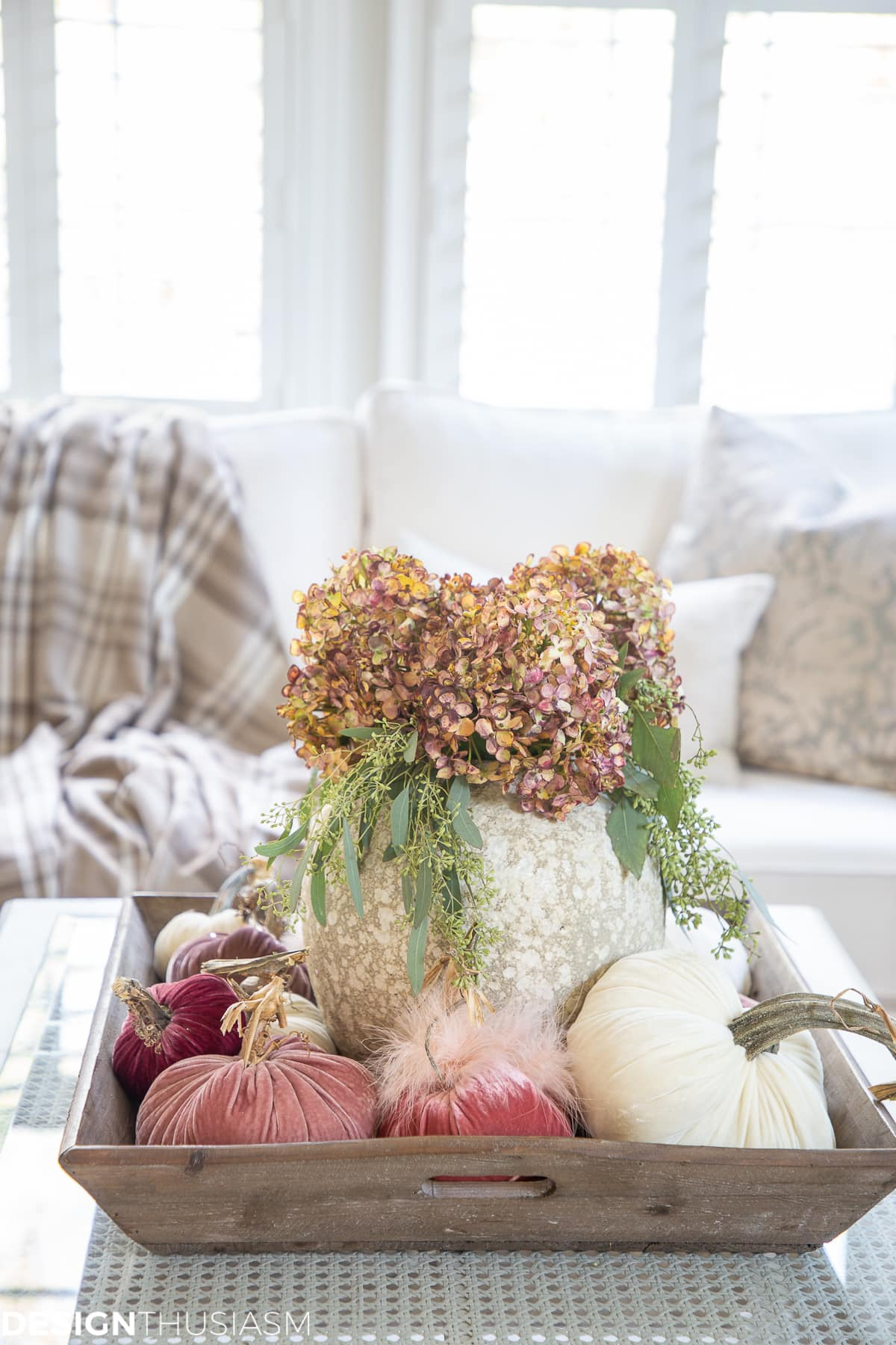 fall living room decor decorating with velvet pumpkins
