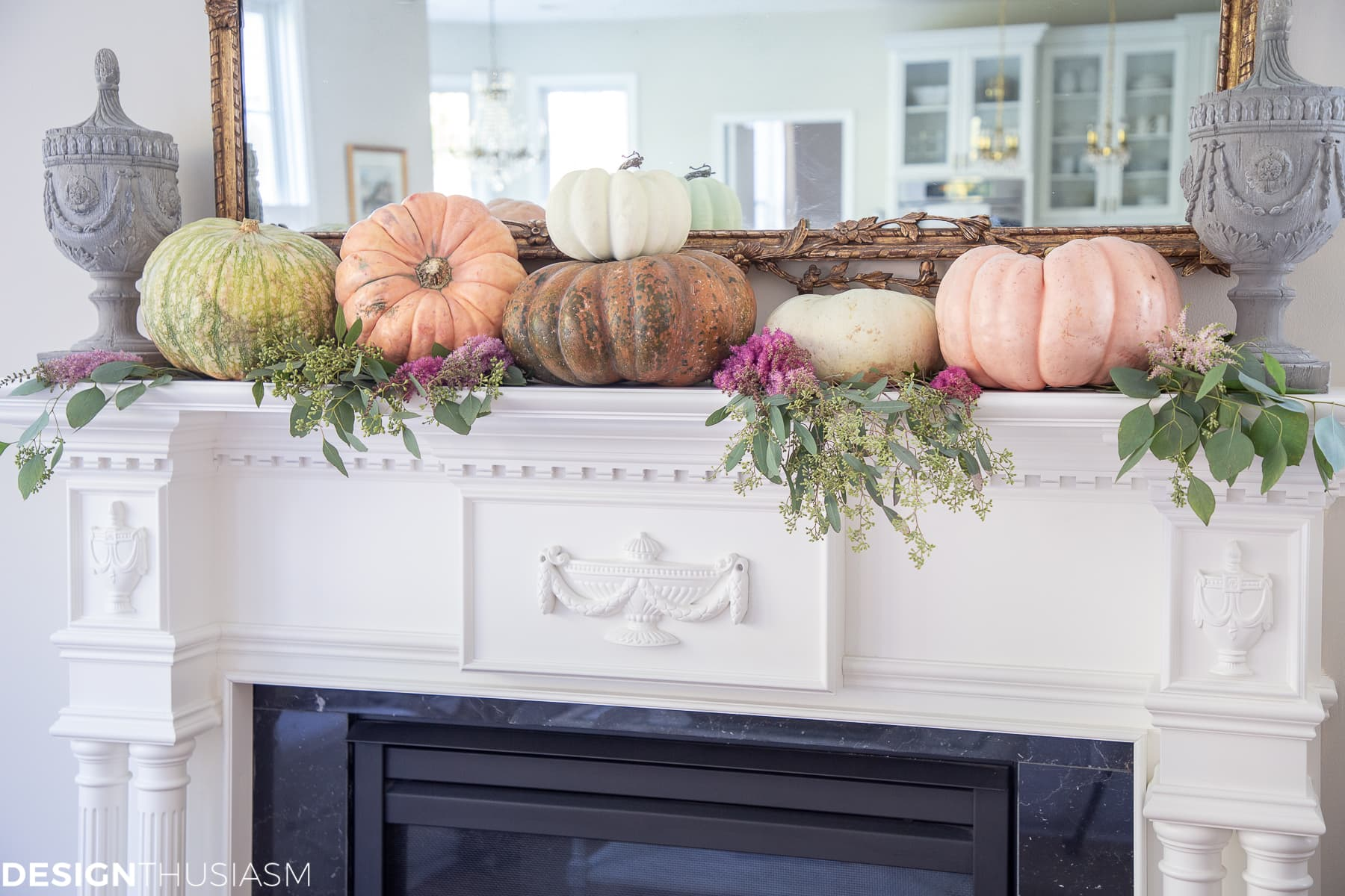 fall living room mantel decorating with pumpkins