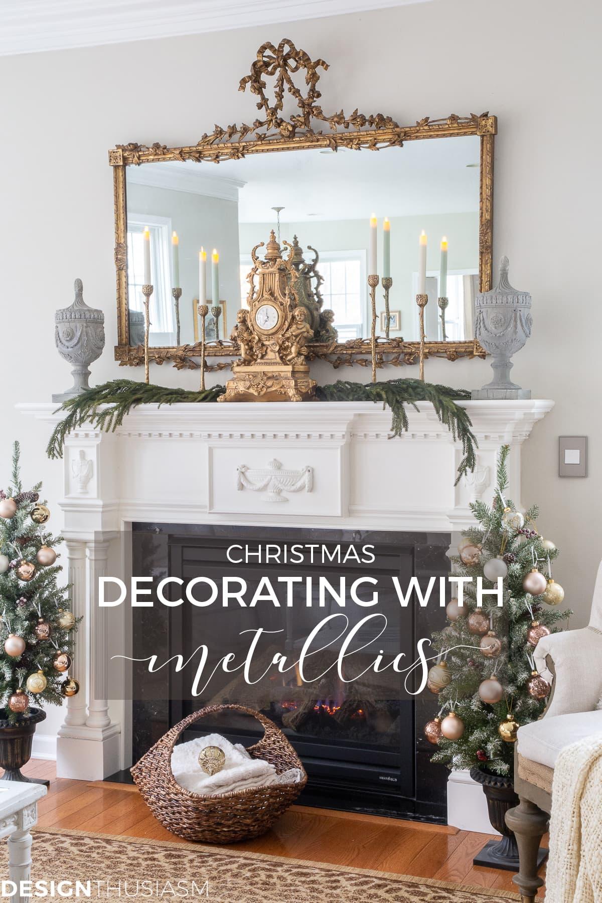 Christmas living room decorating with metallics
