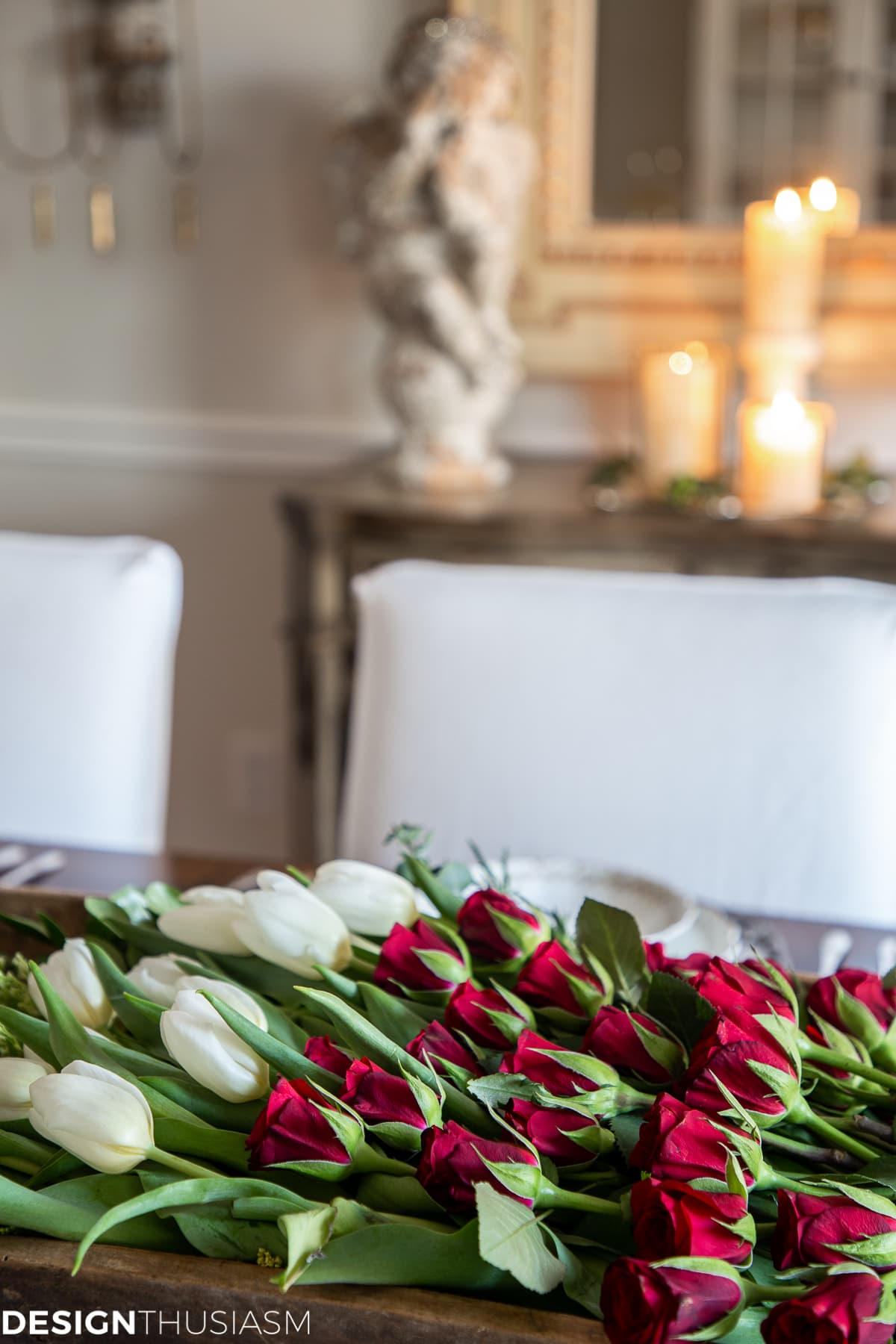 Christmas flowers in the dining room