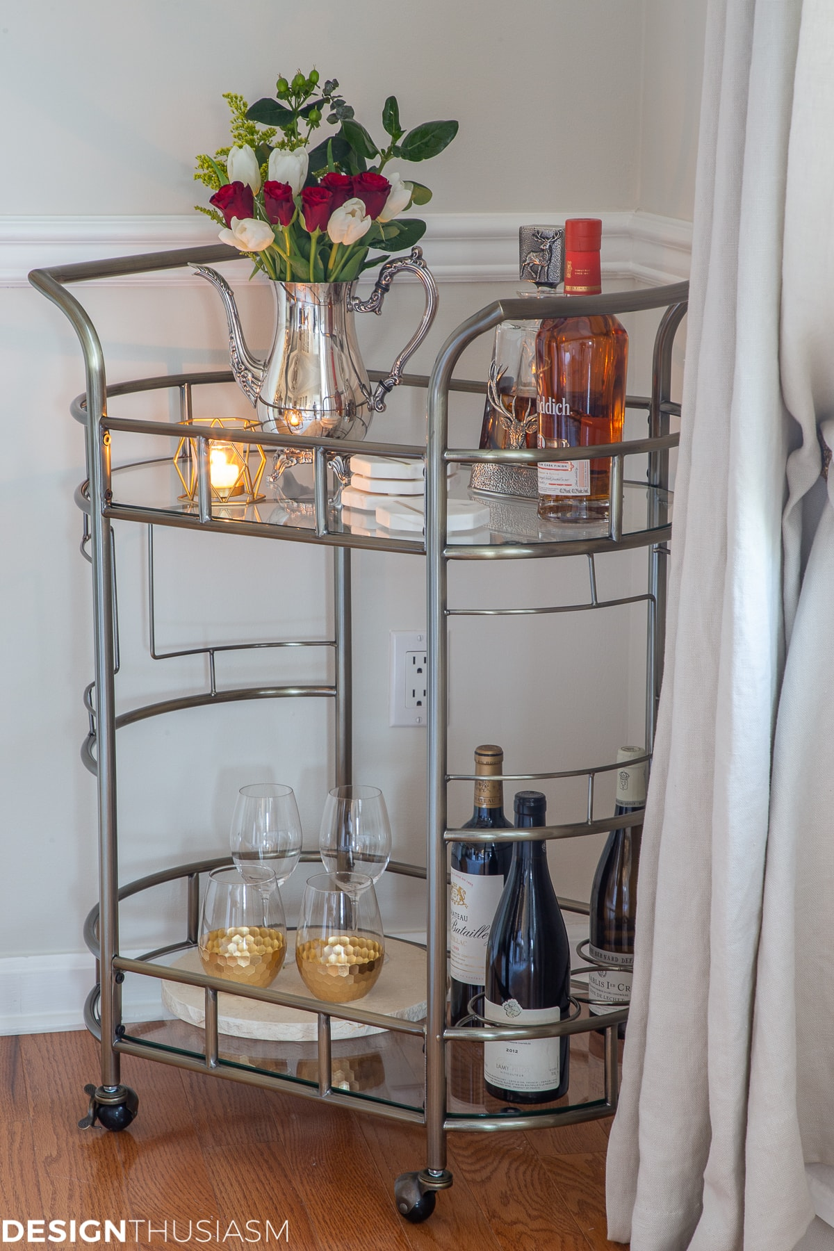 Christmas bar cart in the dining room