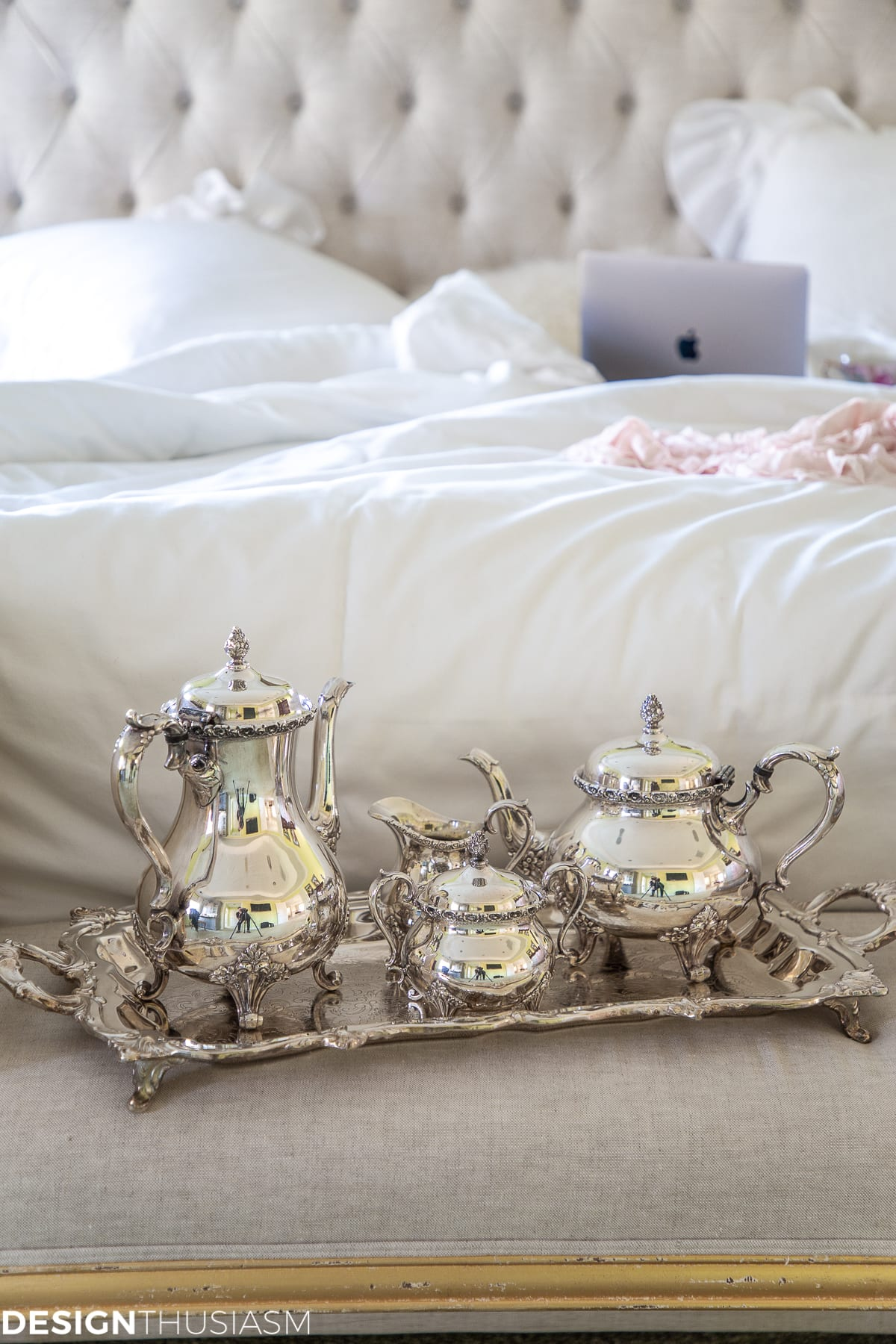 tea set in bedroom