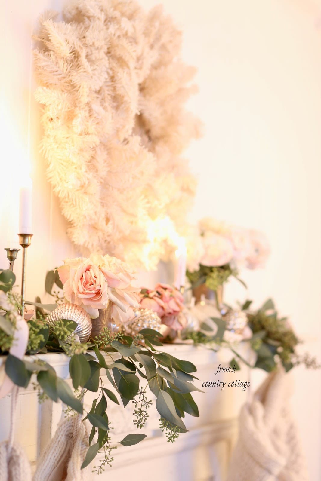 French Country Fridays- White Christmas Mantel