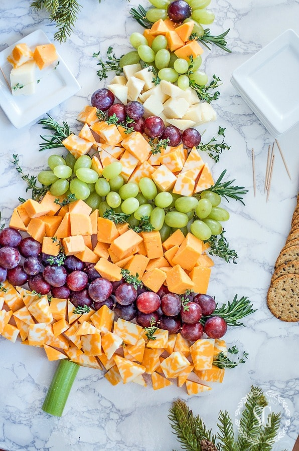 CHRISTMAS-TREE-CHEESE-BOARD-cheese-grapes-herbs-stonegableblog