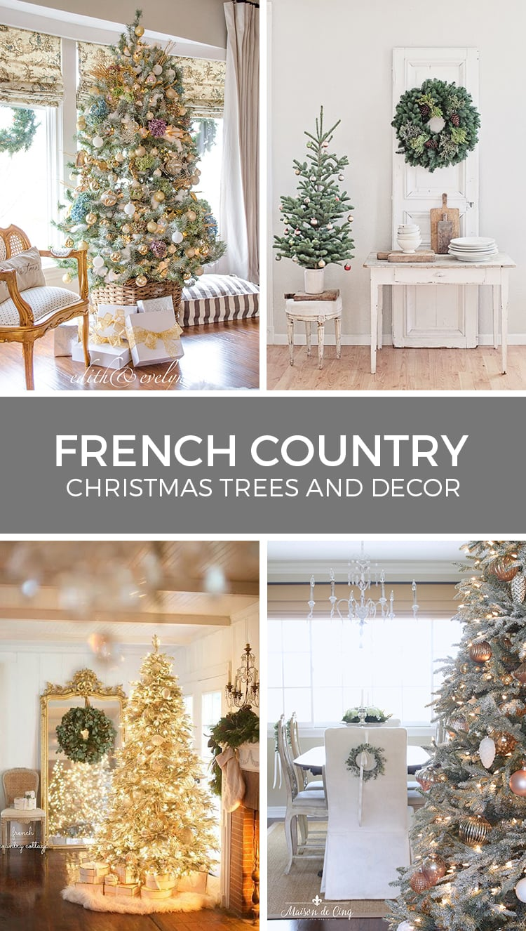 French Country flocked Christmas trees and decor