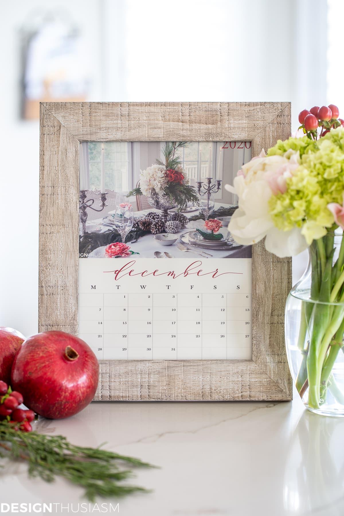 FREE Printable 2020 Calendar from designthusiasm