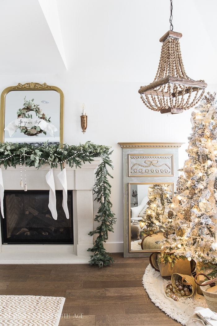 French Country mantel and Christmas tree decorations