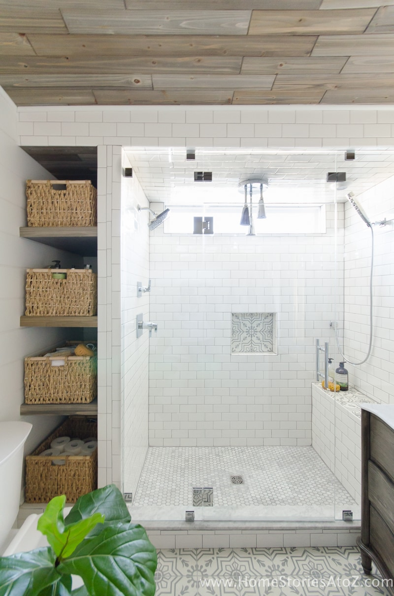 frameless-shower-doors-with-bathroom-shelves-Home Stories