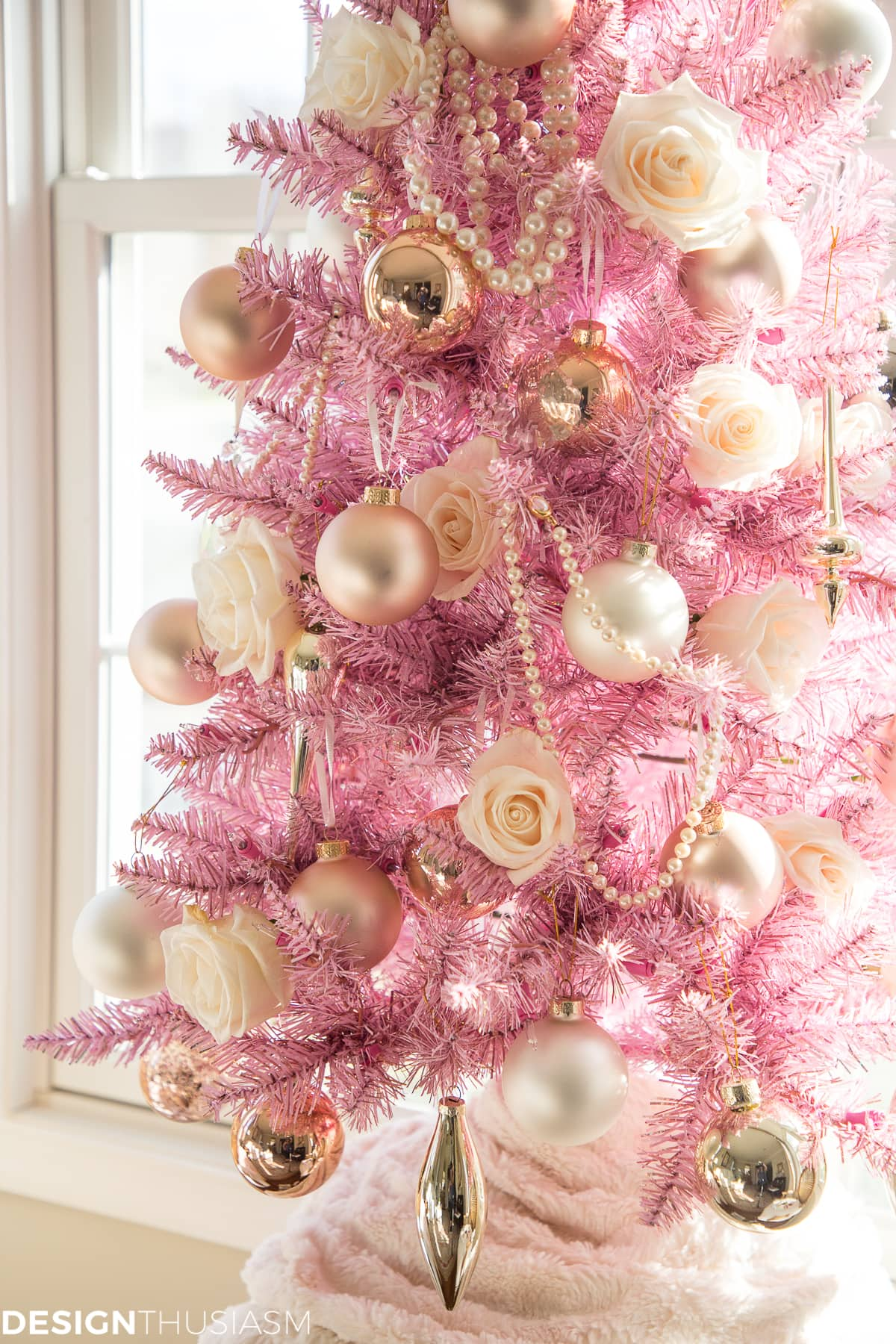 French Country pink Christmas tree decorations