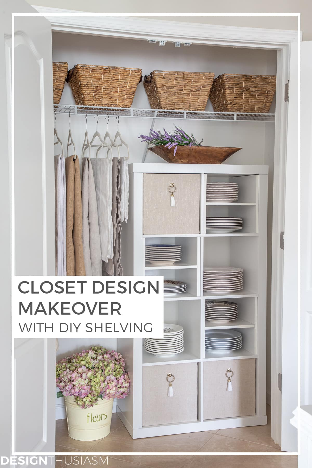 DIY closet shelving unit with plate storage