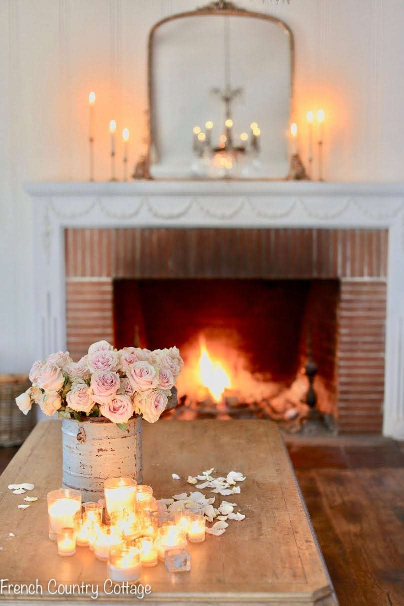 French country cottage living room winter decorating