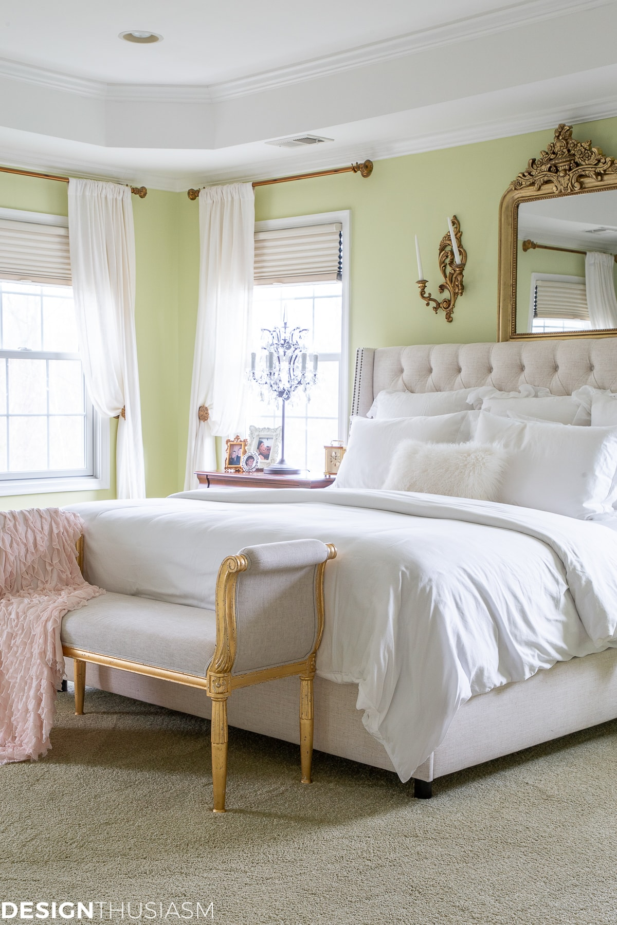 master bedroom with white bedding