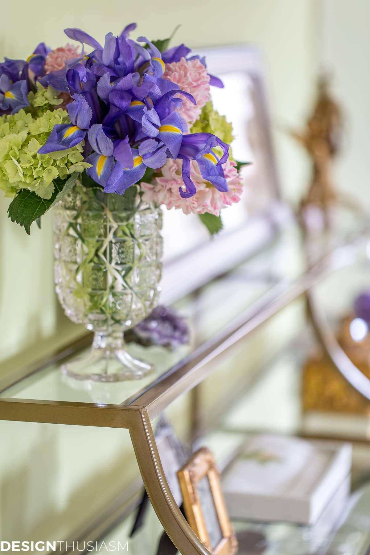 floral on bedroom shelf unit