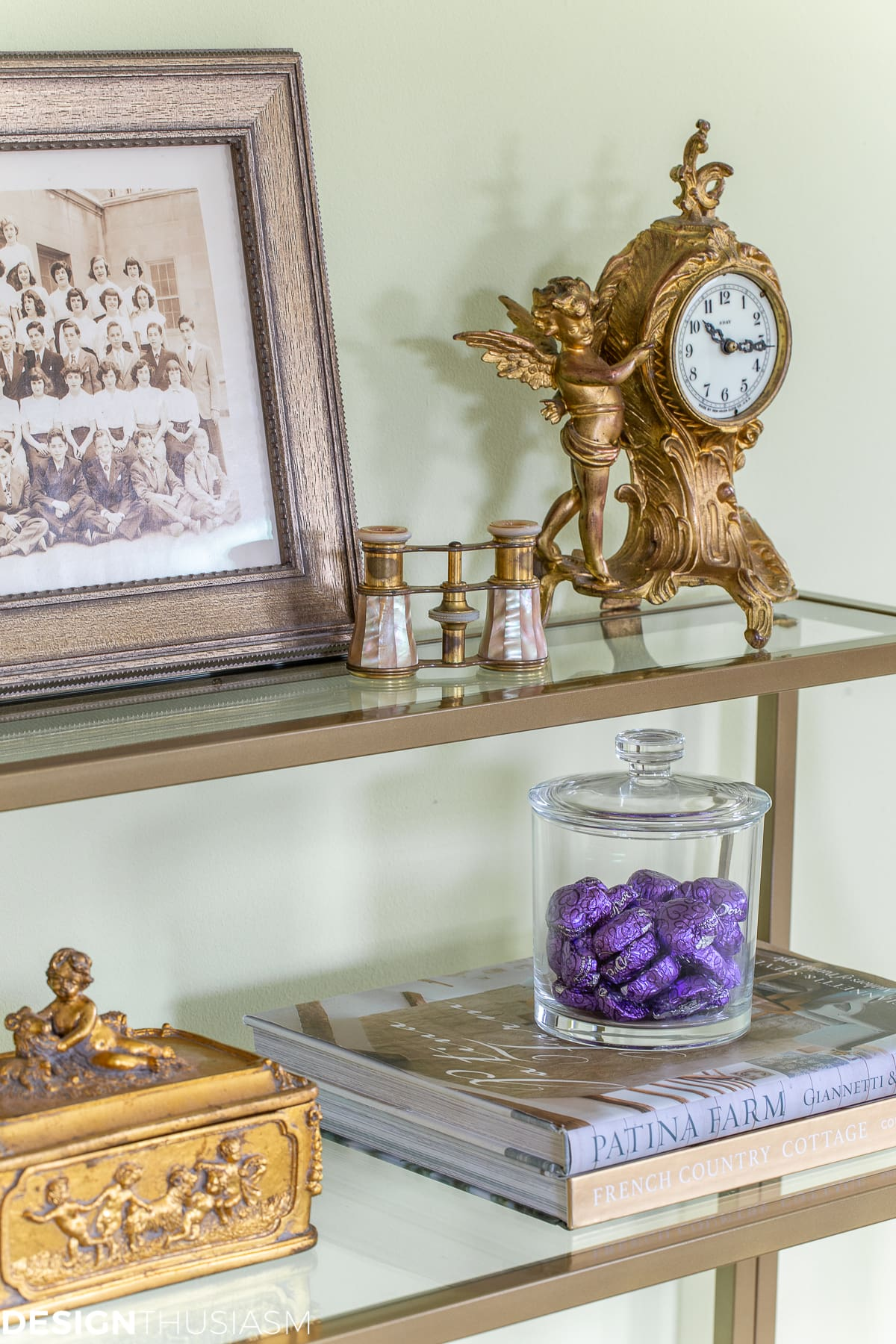 candy jar on styled shelves