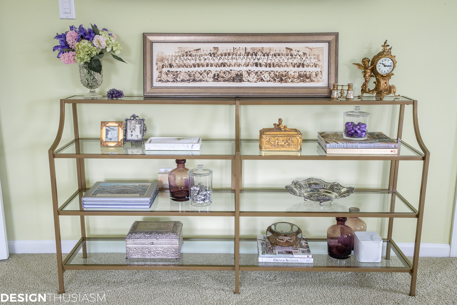 styled shelf unit in the bedroom