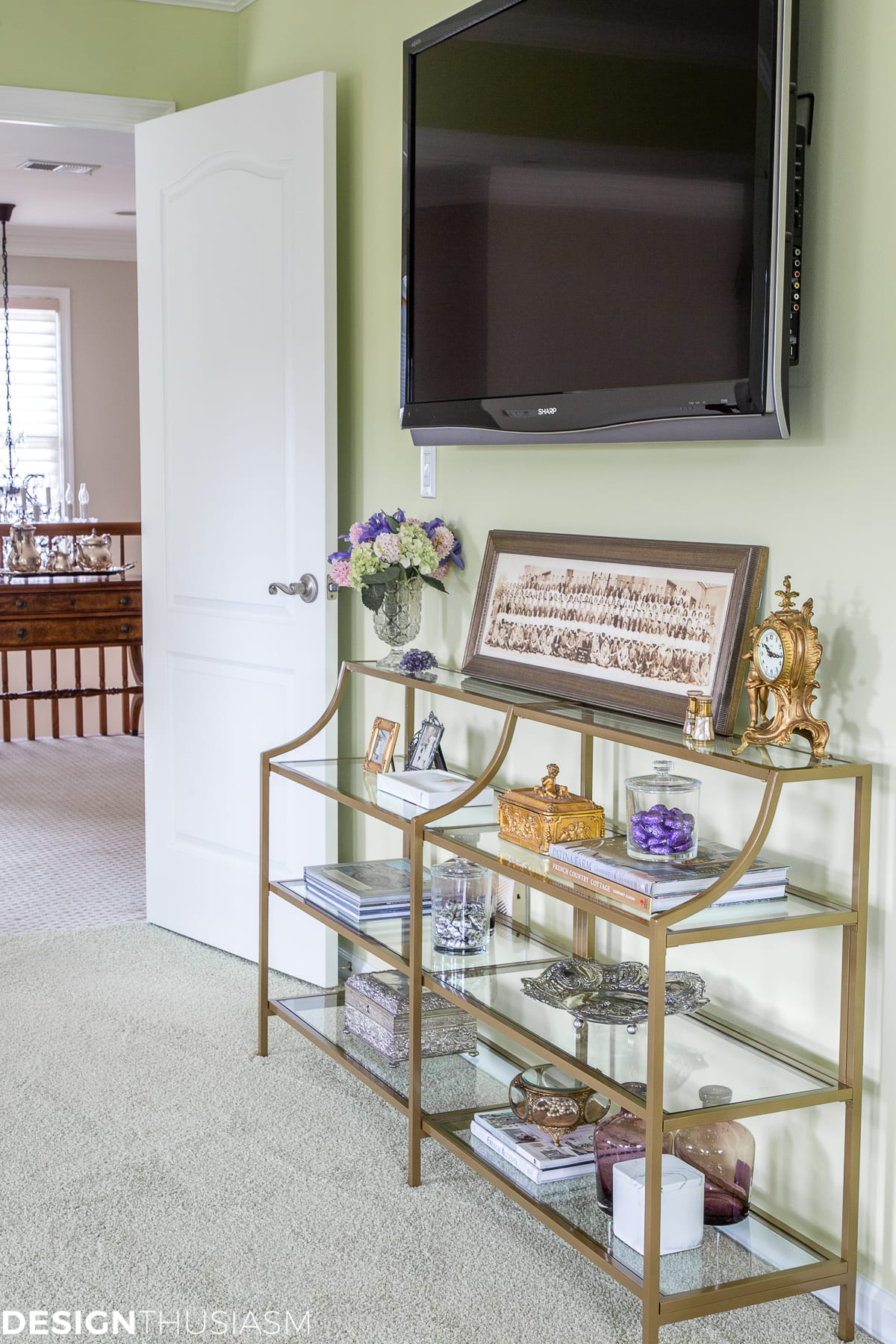 styled shelves under the Tv