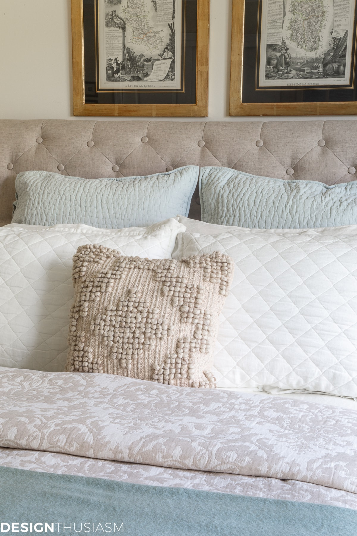 neutral bed linen and pillows