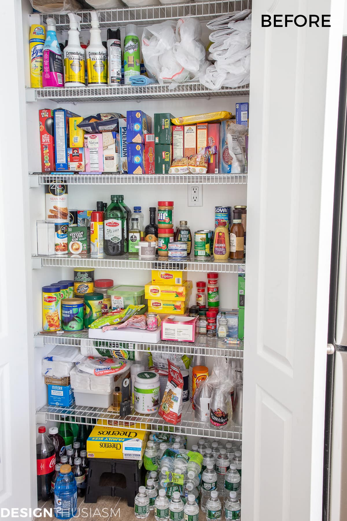 kitchen pantry before organization