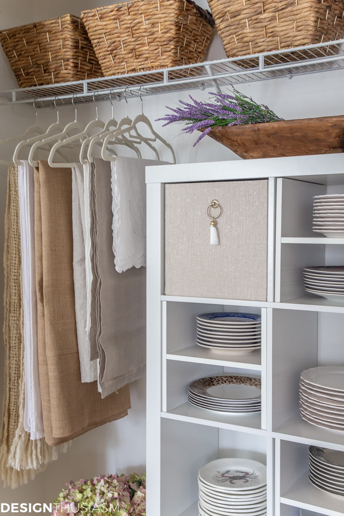 closet makeover with plate storage