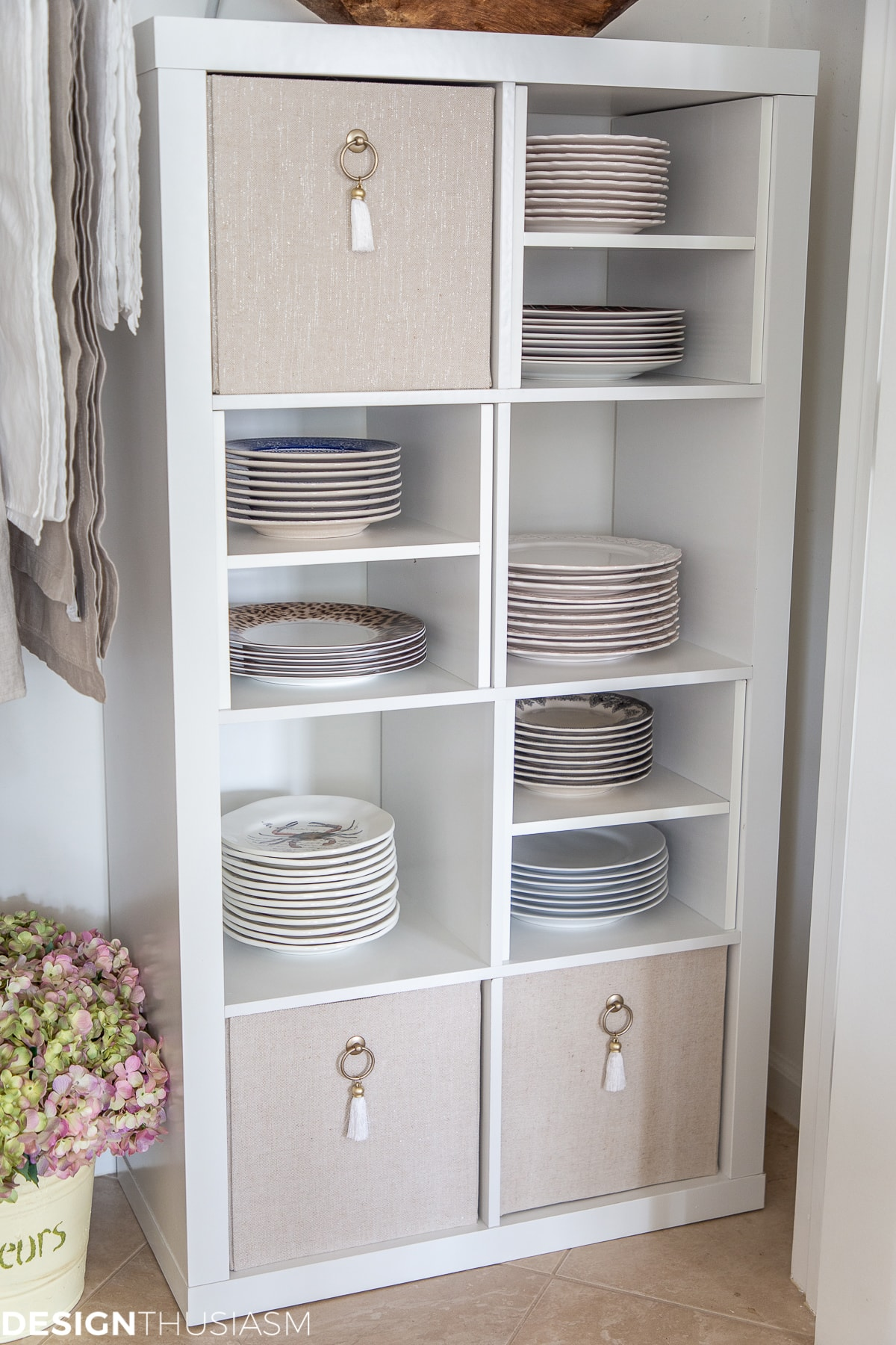 closet shelving unit for plate storage