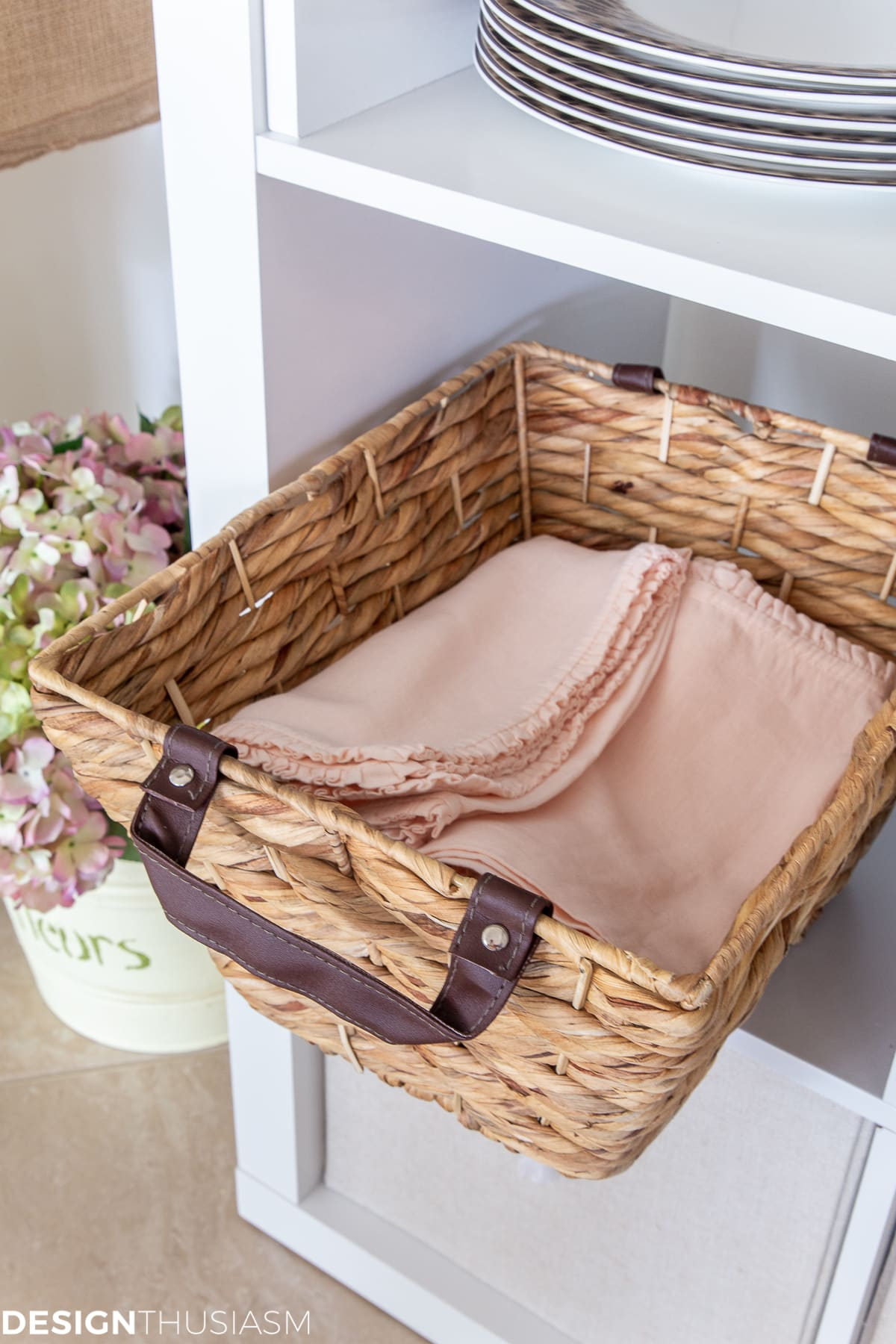 rattan baskets for linens storage