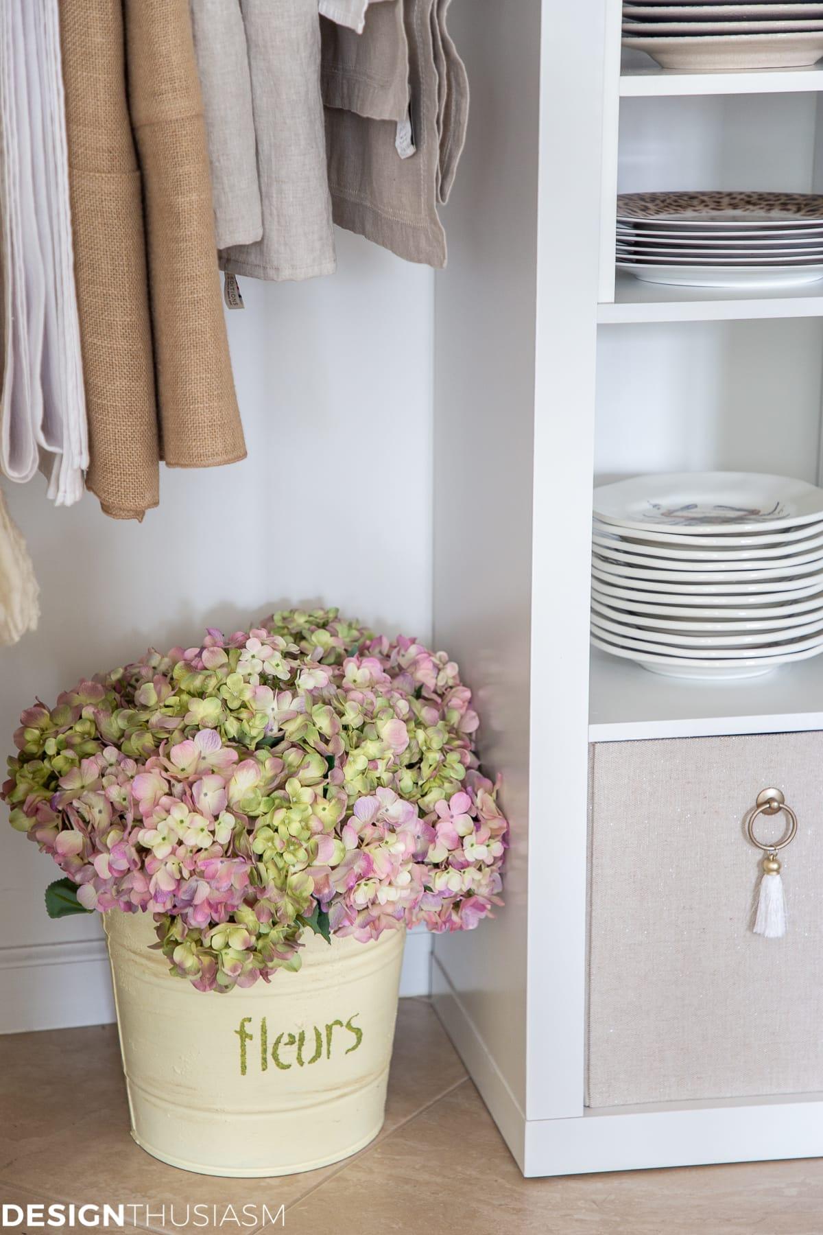 hydrangeas in dish closet