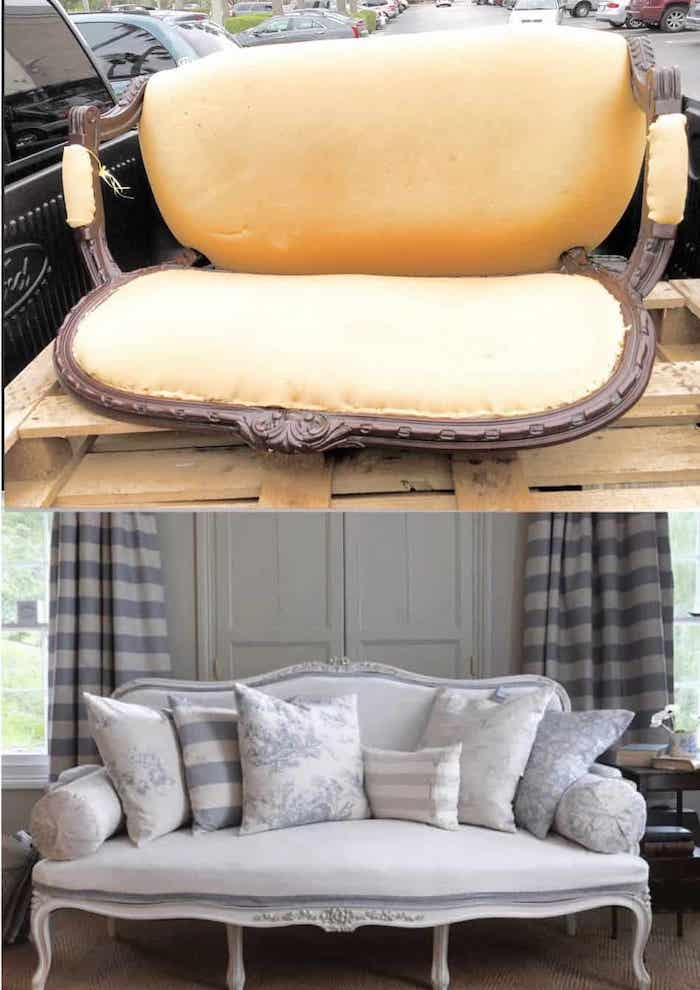 How to paint and upholster a French settee shabbyfufu