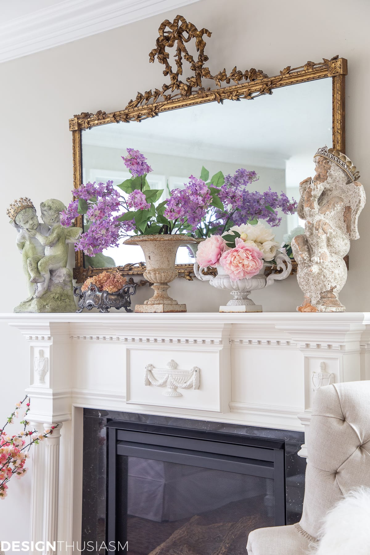 spring garden decor on the mantel