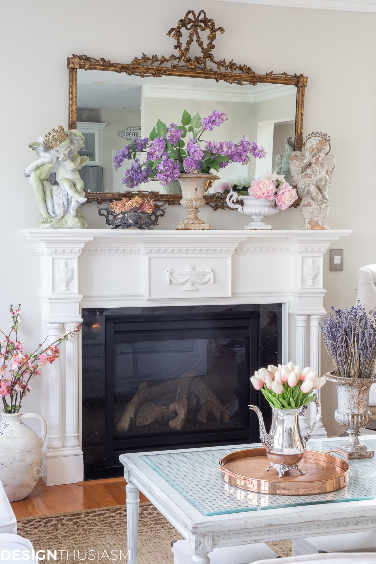 spring family room mantel decor