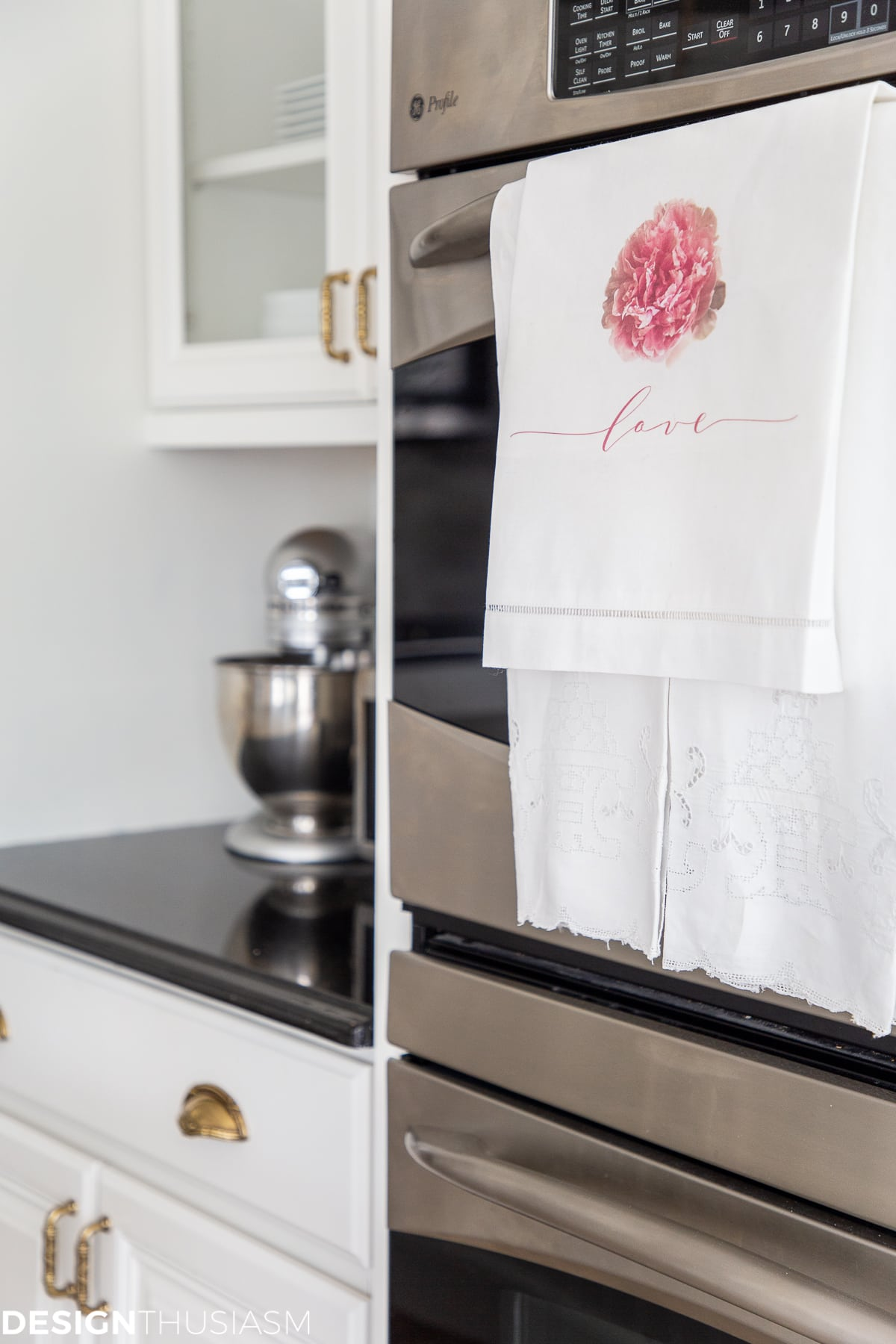 peony love tea towel valentines day decor