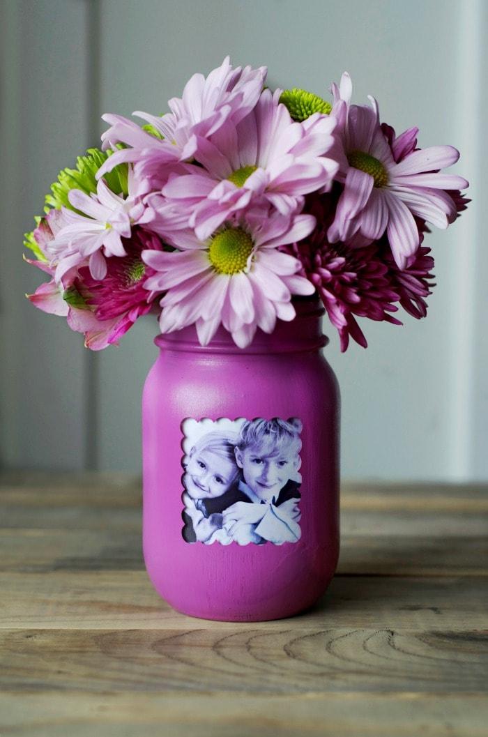 mason jar vase and frame