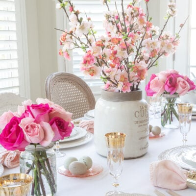pink easter table decor