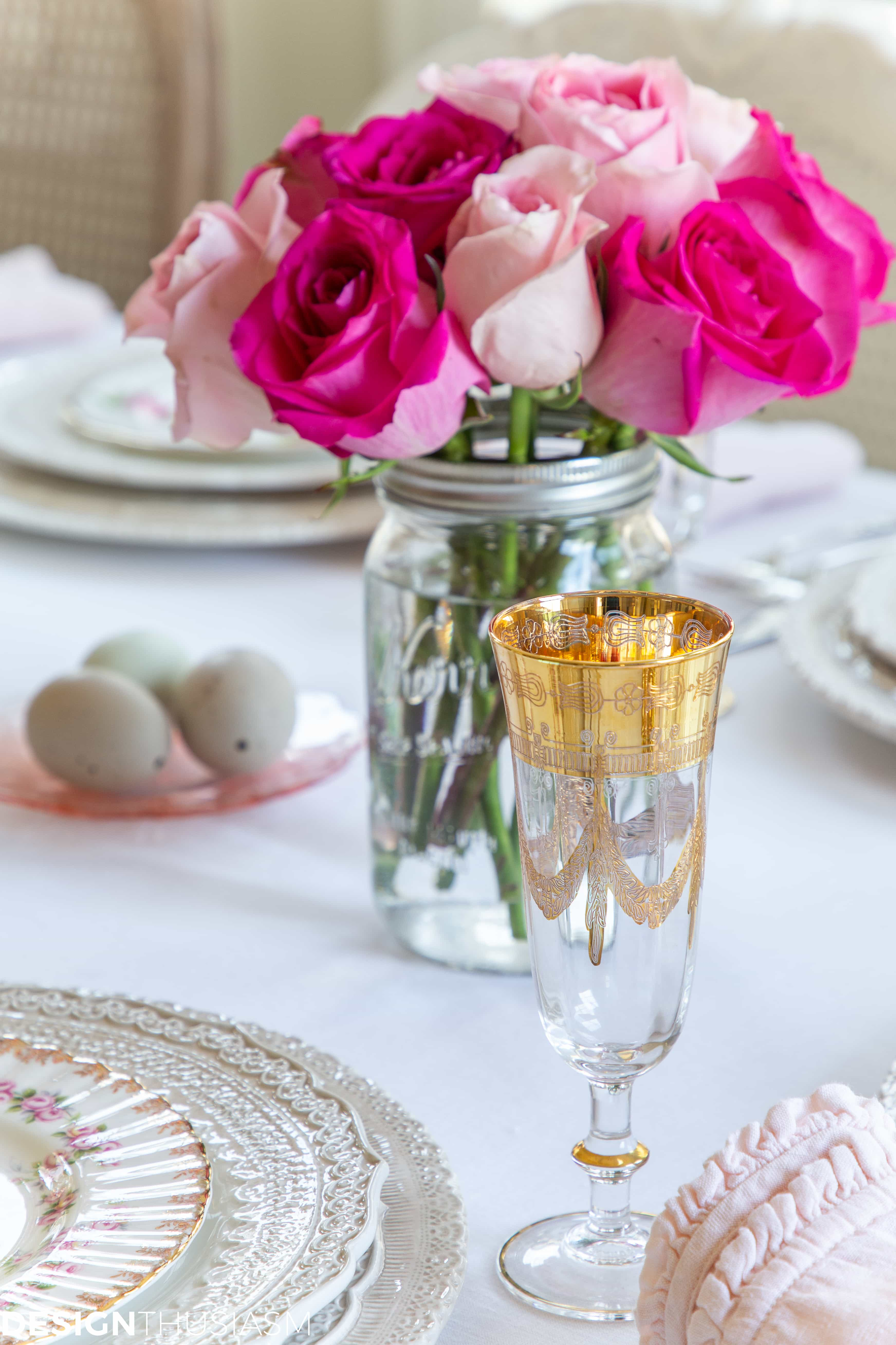 pink easter table ideas