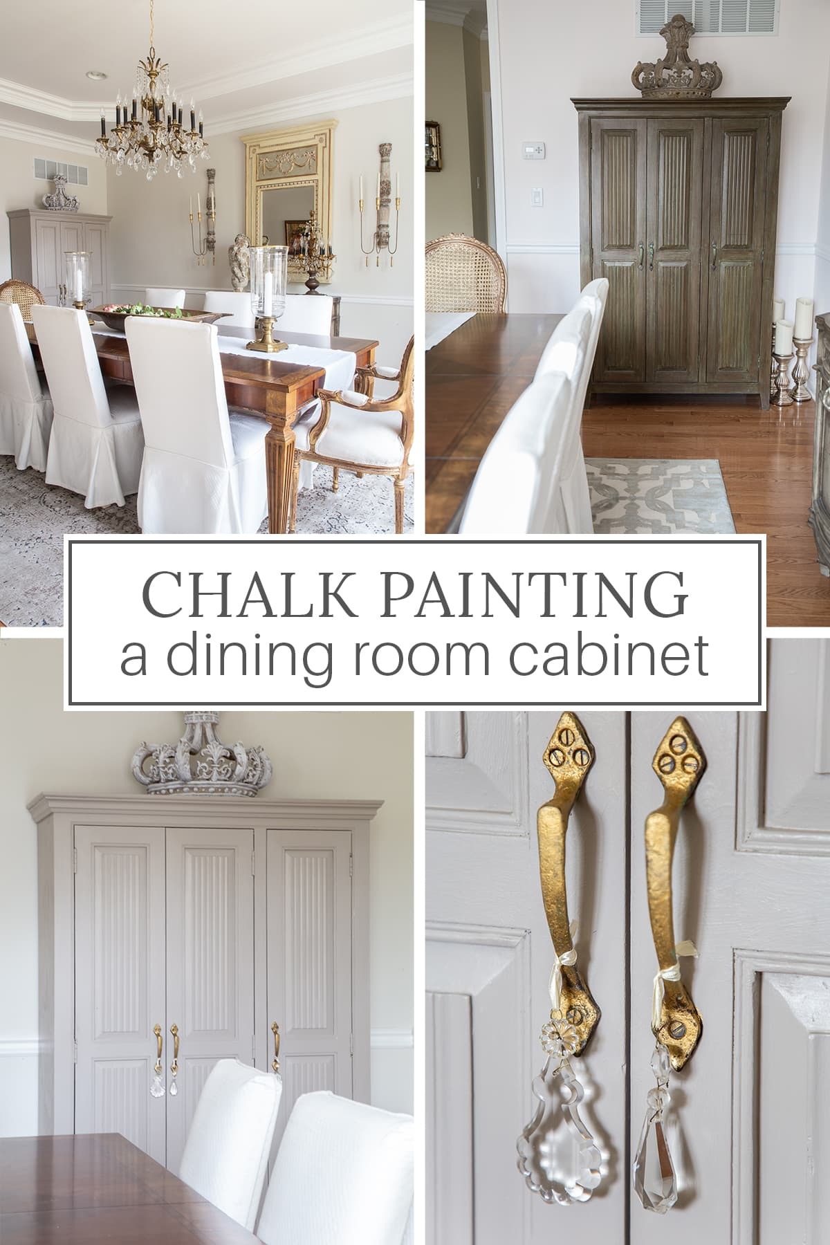 chalk painted dining room cabinet