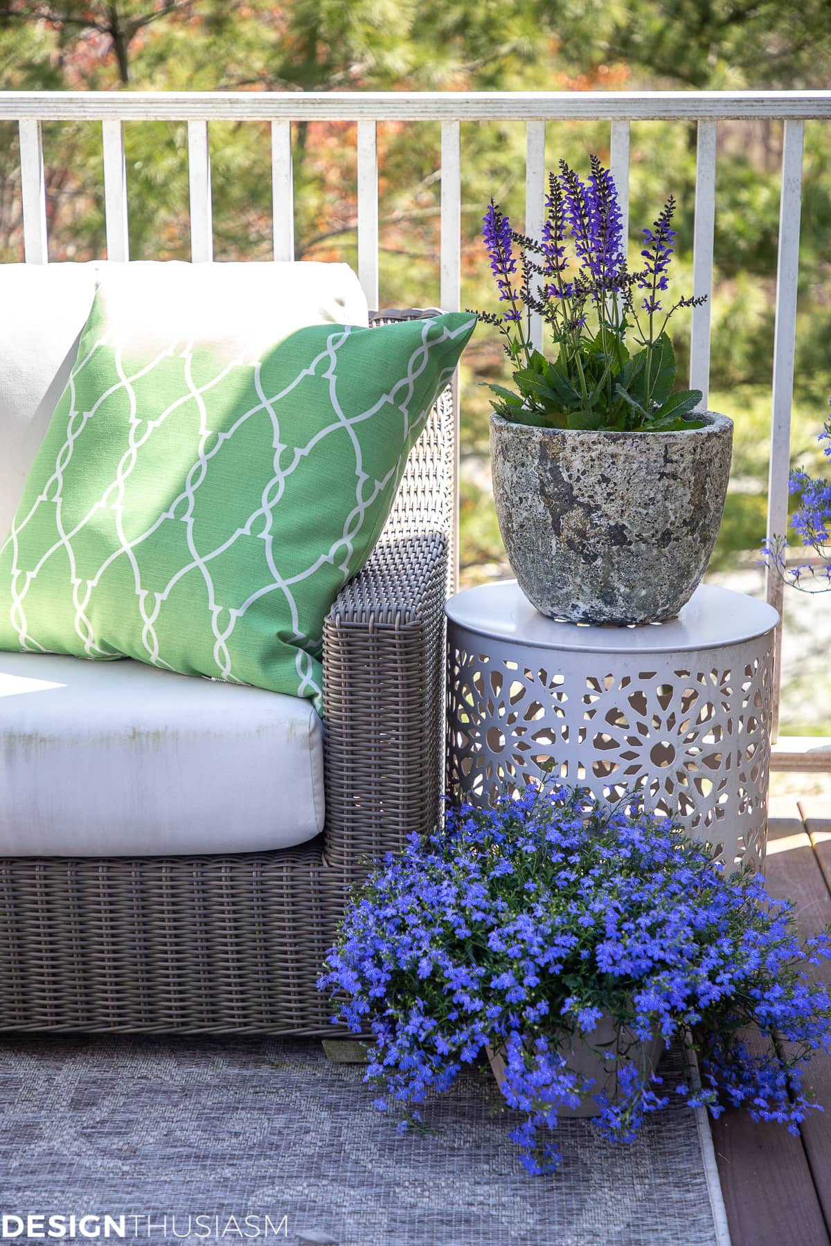 patio decor planter, ends table and pillow