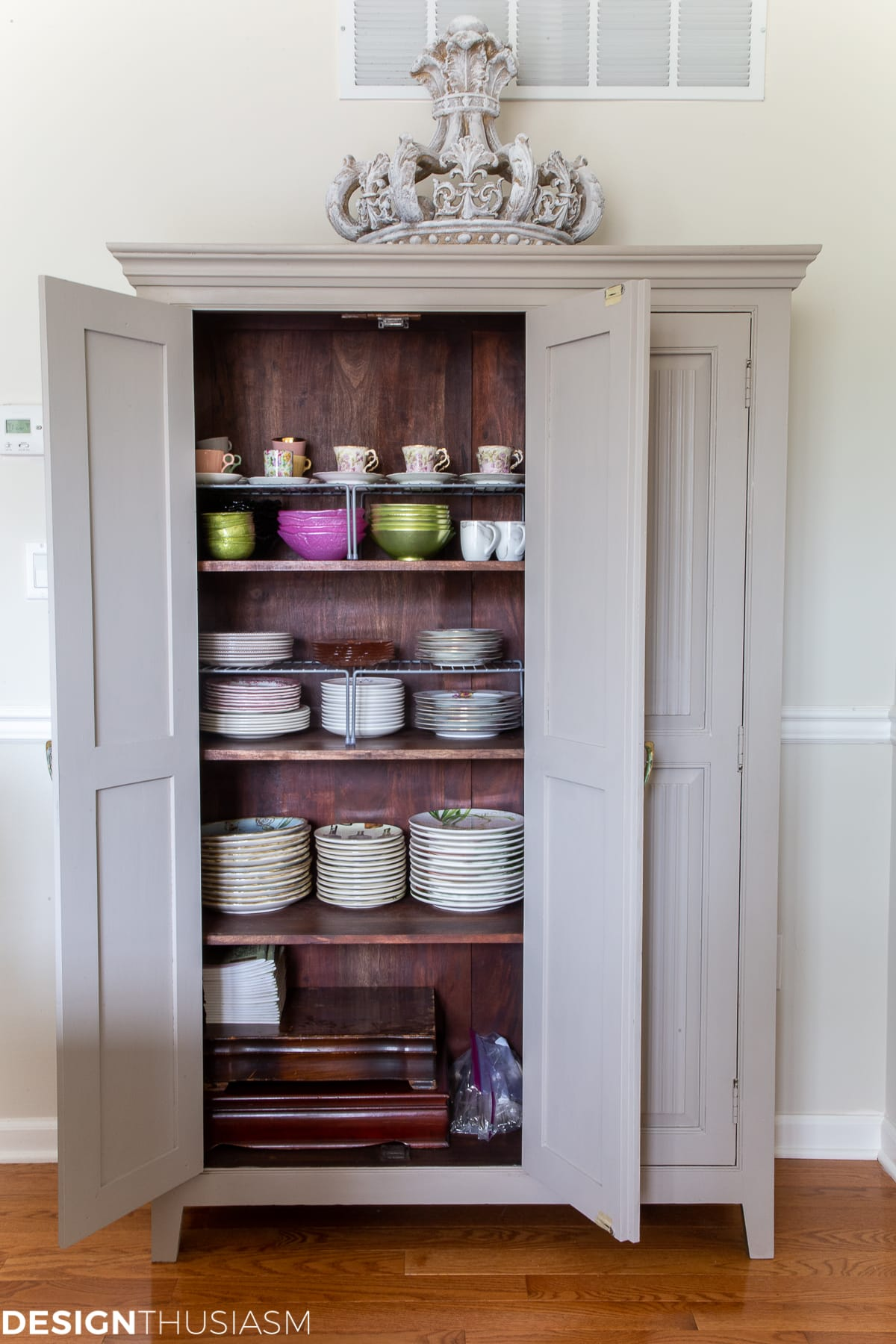 china cabinet filled with dishes