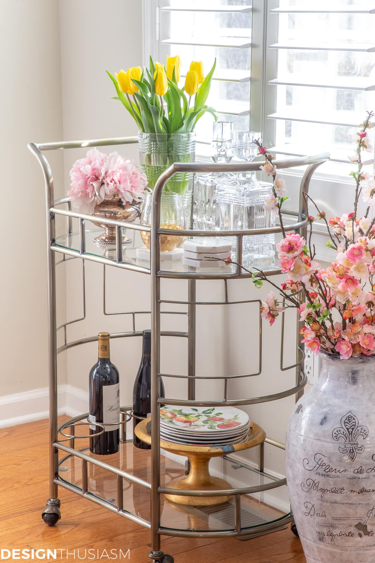 bar cart spring styling