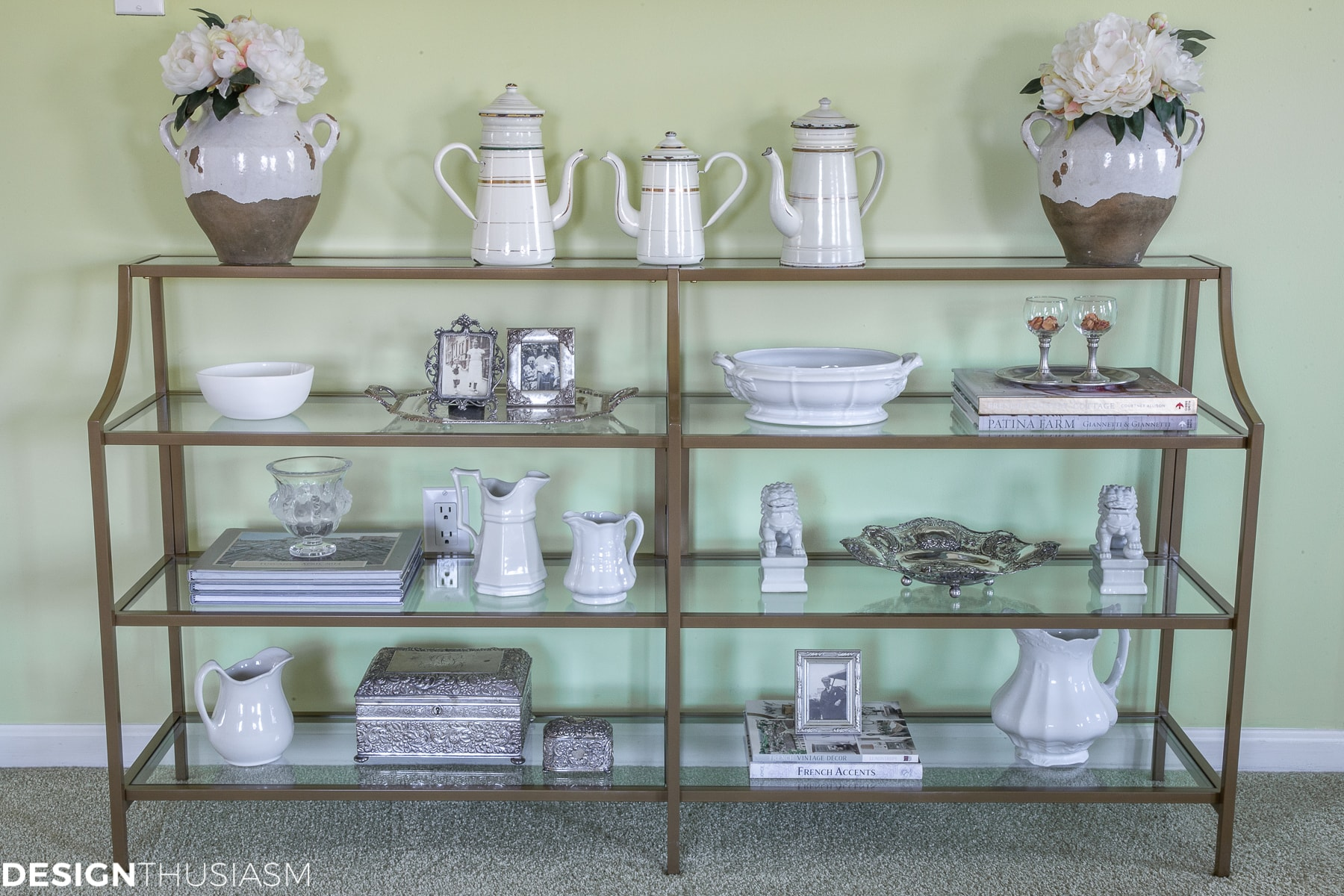 ironstone shelf styling