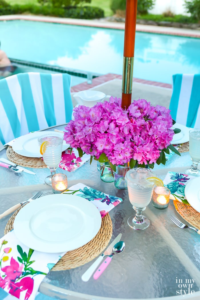Flower Centerpiece for Patio Umbrella Table