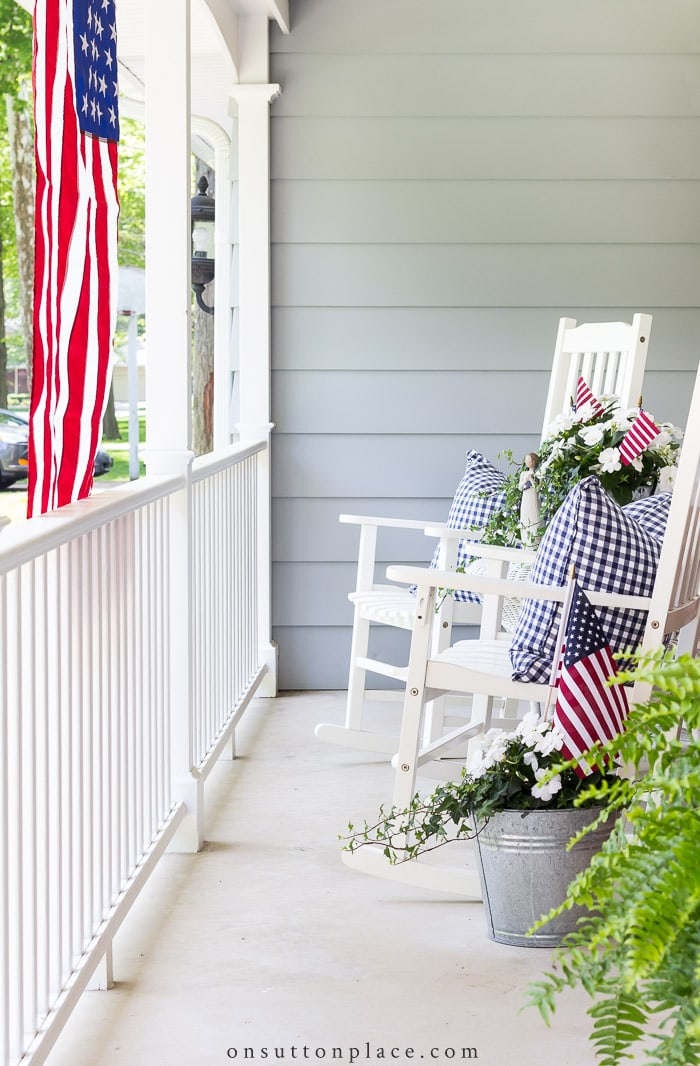 Patriotic Porch Decor from On Sutton Place