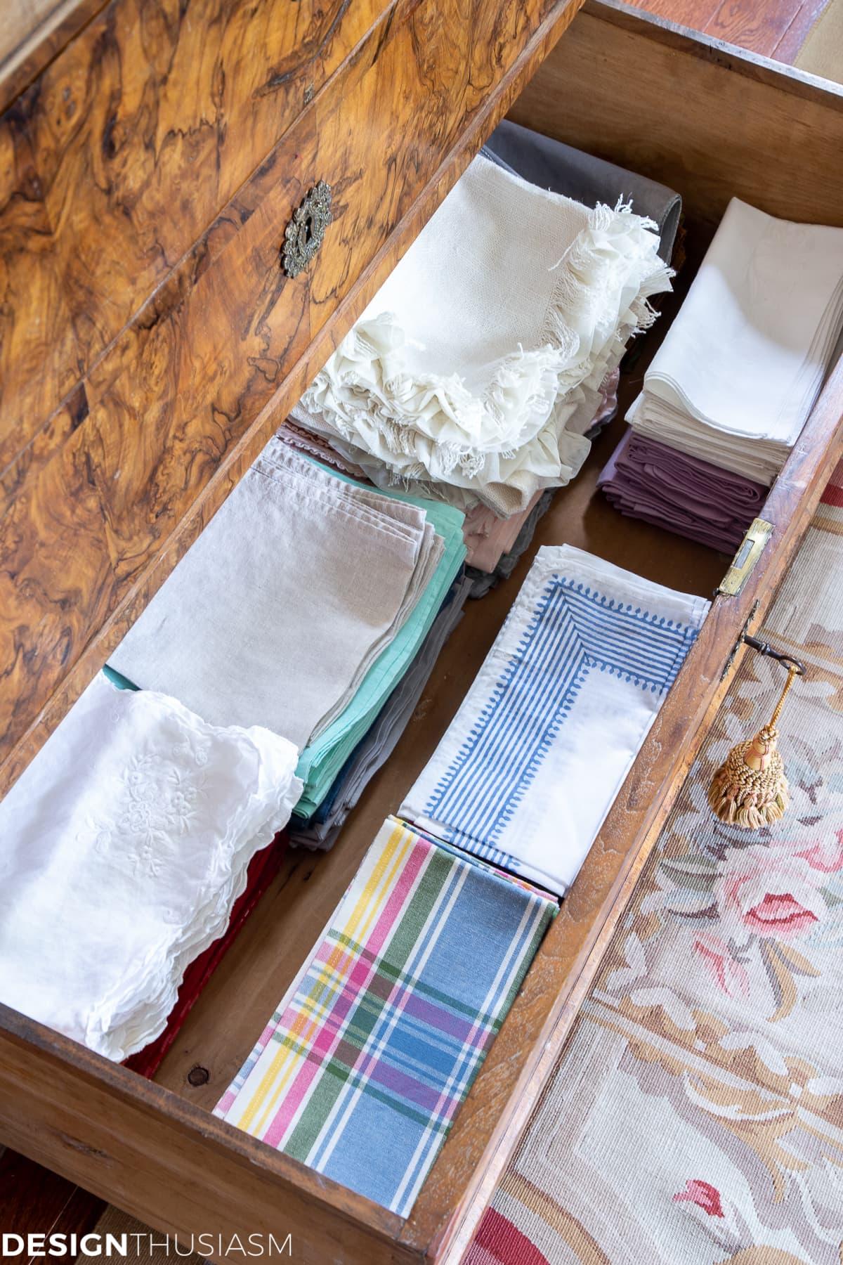 napkin drawer organization