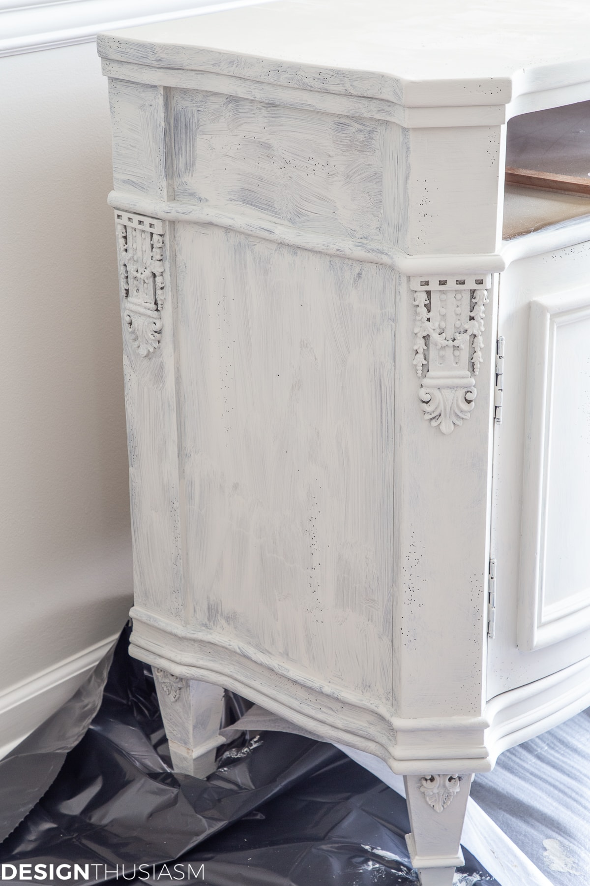 white chalk paint vintage sideboard first coat
