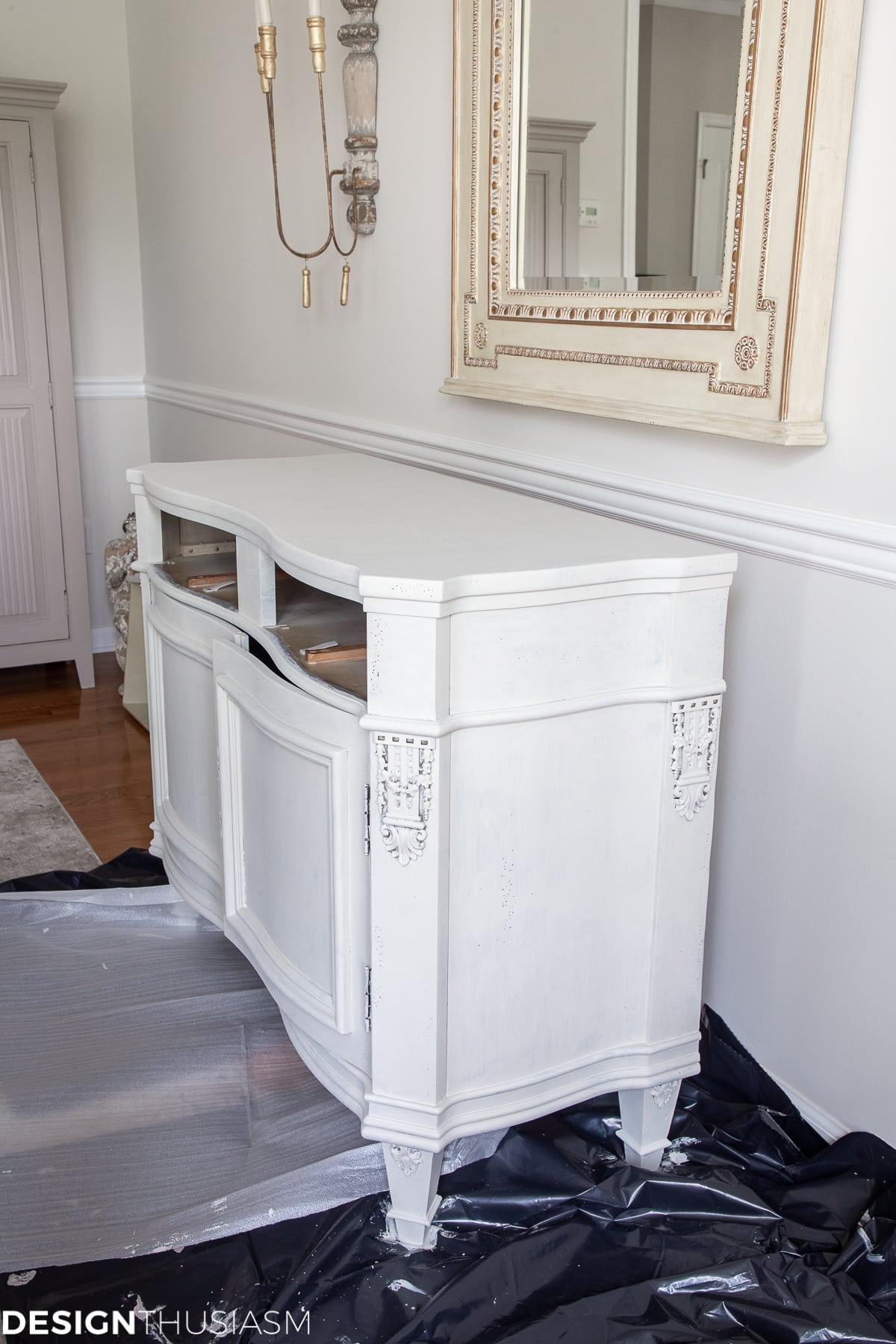 white chalk paint vintage sideboard second base coat