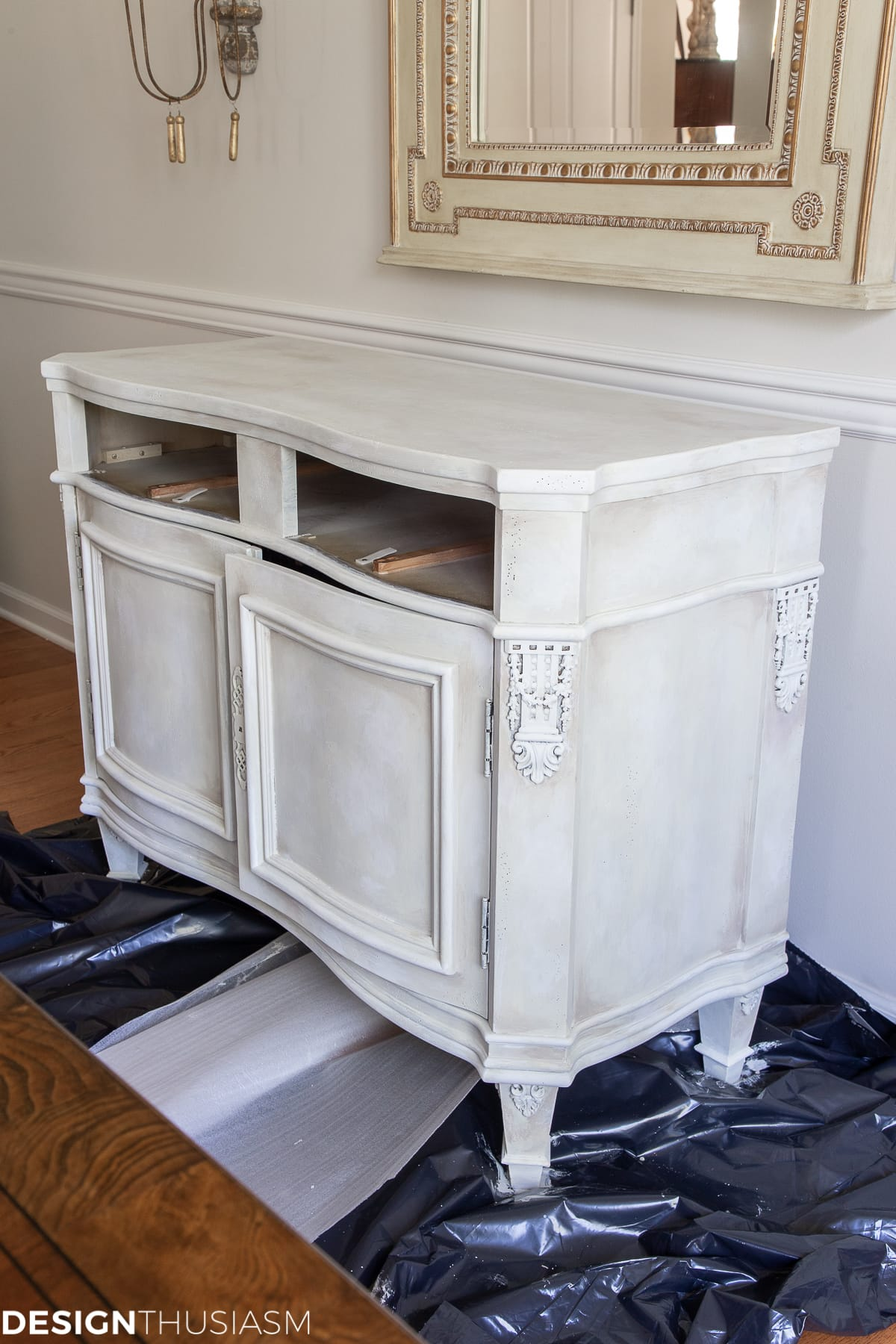 white chalk paint vintage sideboard paint layers