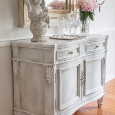 white chalk paint vintage sideboard