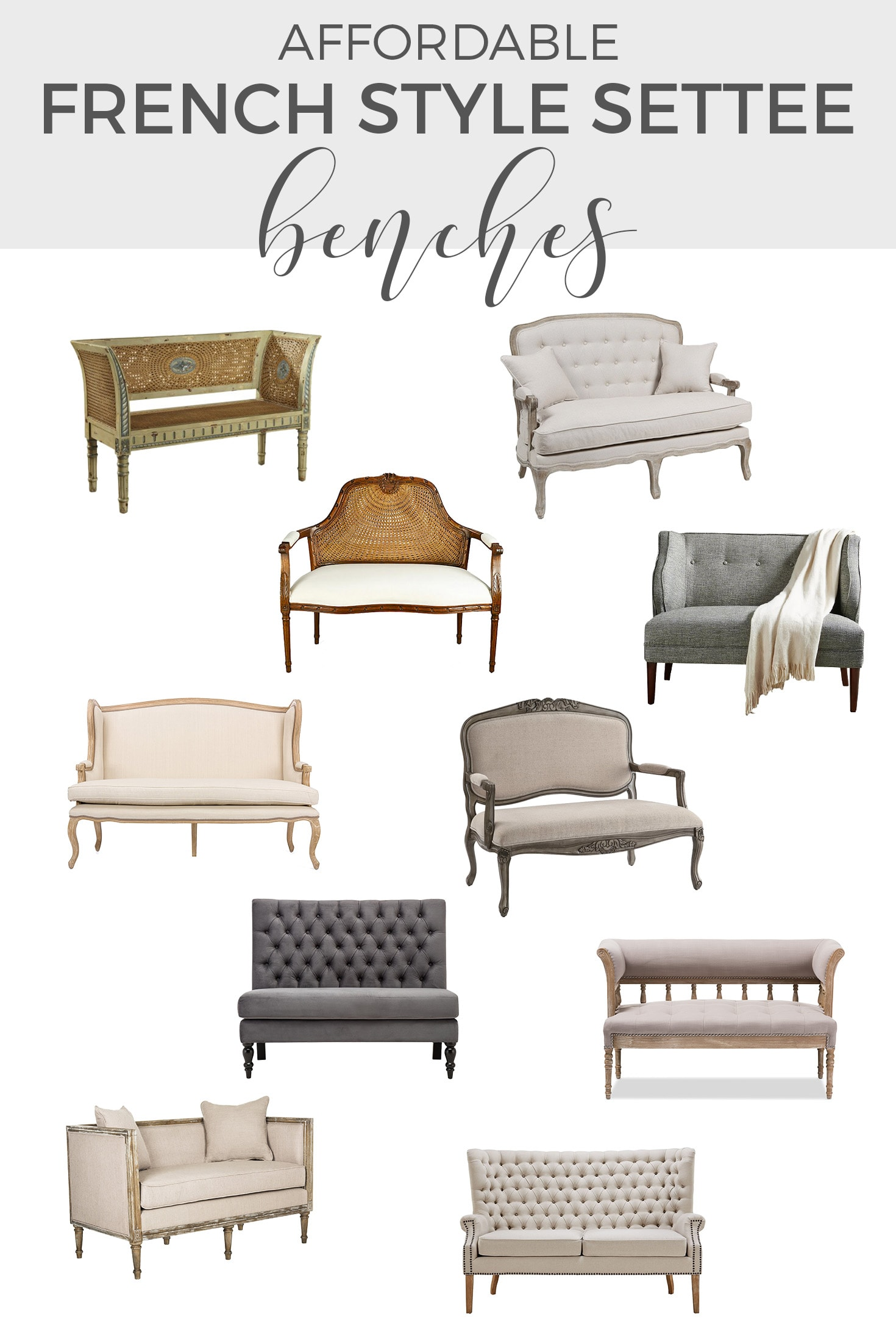 Affordable French Settee Bench