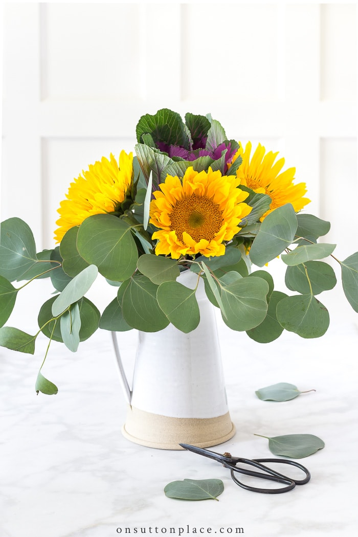 Easy Sunflower Arrangement from On Sutton Place